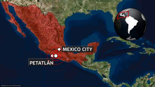 The earthquake's centre was 165 miles south west of Mexico City