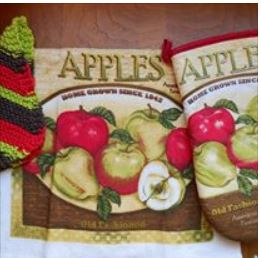 I knit the dishcloths and match them with dishtowels and potholders/mitts, sell them also